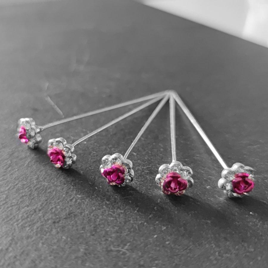 Haarstekers / Hairpins / Haarpins – Roze Roosje - 5 stuks-3