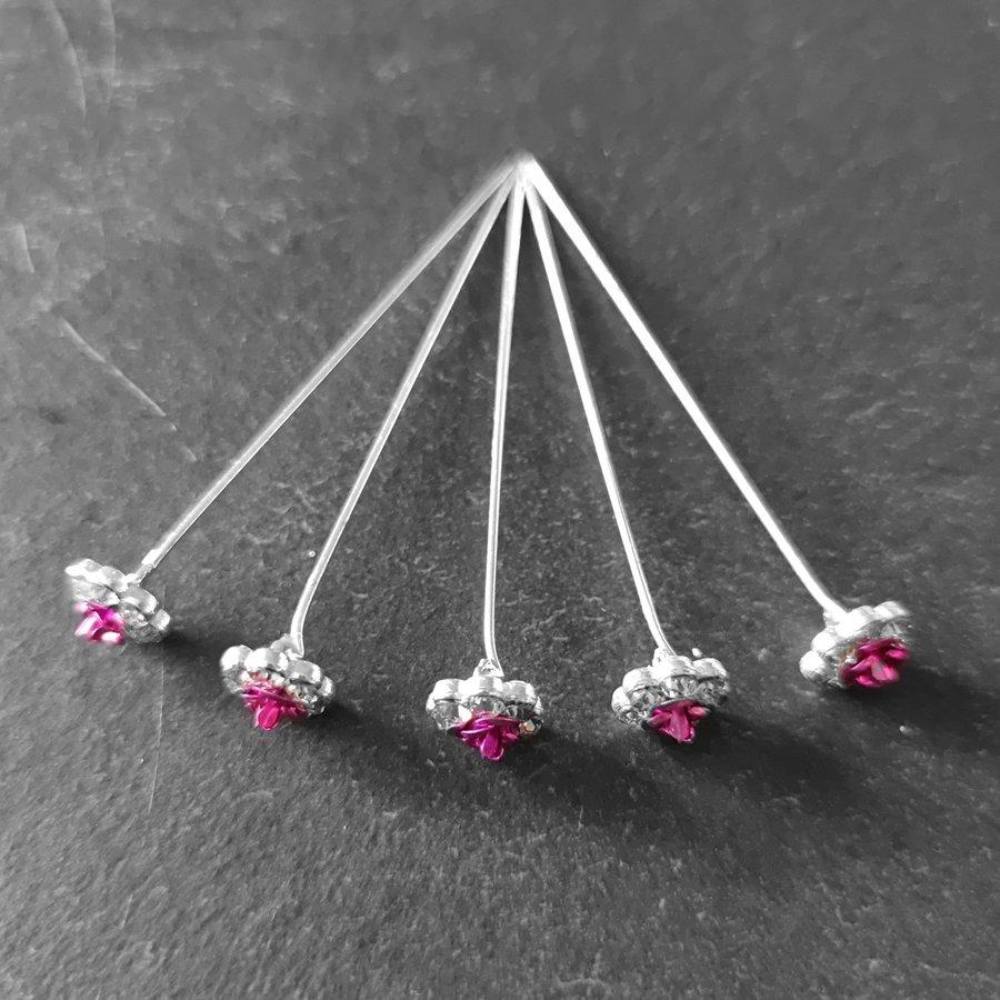 Haarstekers / Hairpins / Haarpins – Roze Roosje - 5 stuks-7
