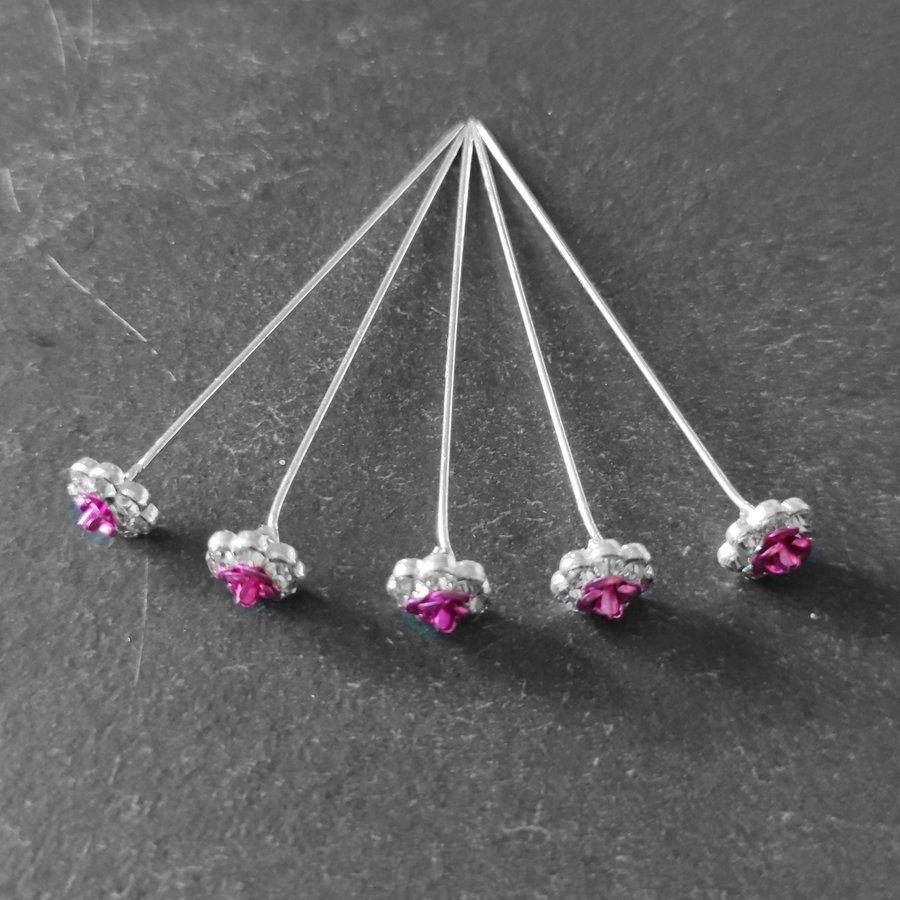 Haarstekers / Hairpins / Haarpins – Roze Roosje - 5 stuks-4