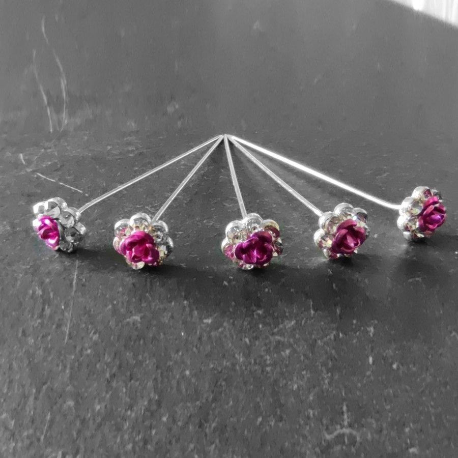 Haarstekers / Hairpins / Haarpins – Roze Roosje - 5 stuks-1