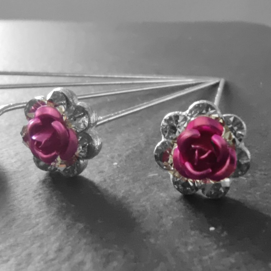 Haarstekers / Hairpins / Haarpins – Roze Roosje - 5 stuks-2