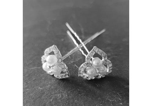 Zilverkleurige Hairpins - Ivoorkleurige Parels en  Diamantjes - 2 Stuks