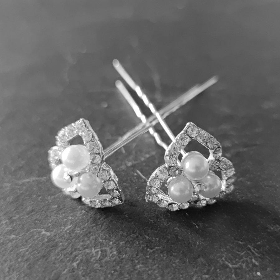 Zilverkleurige Hairpins - Ivoorkleurige Parels en  Diamantjes - 2 Stuks-1