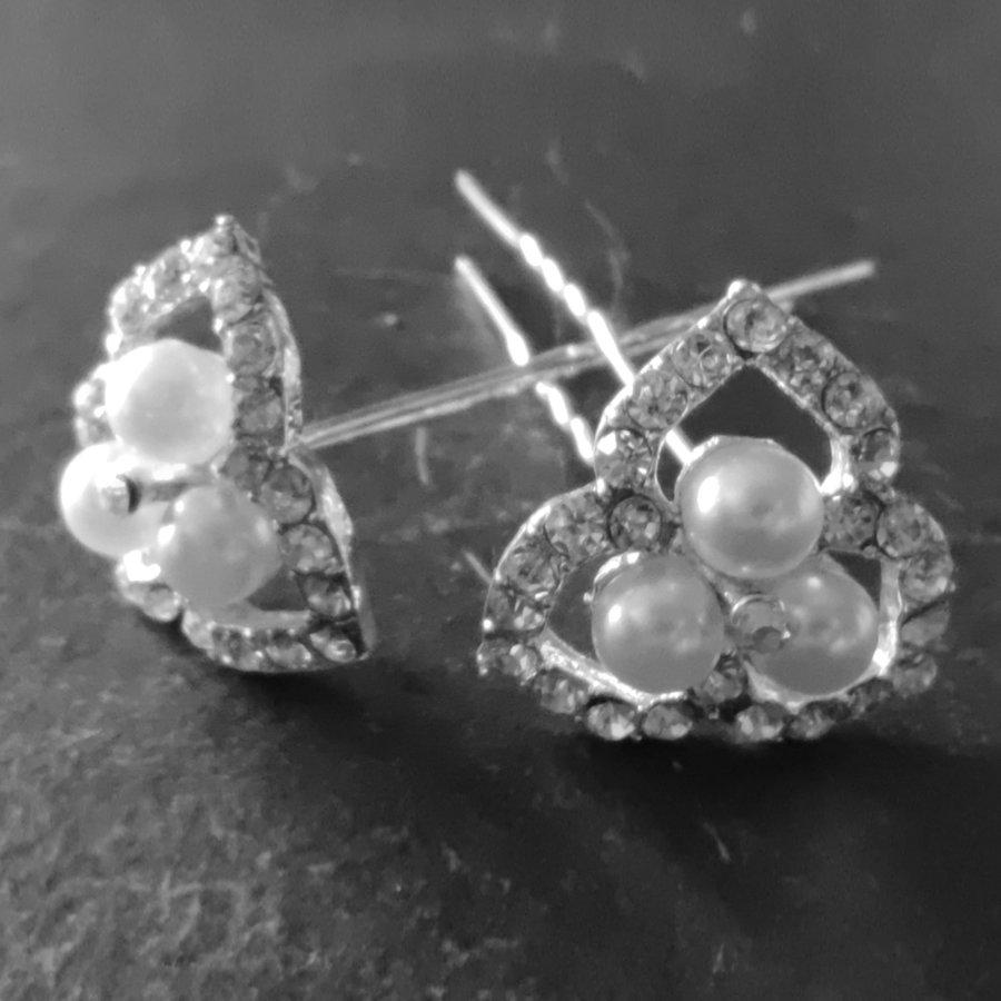 Zilverkleurige Hairpins - Ivoorkleurige Parels en  Diamantjes - 2 Stuks-6