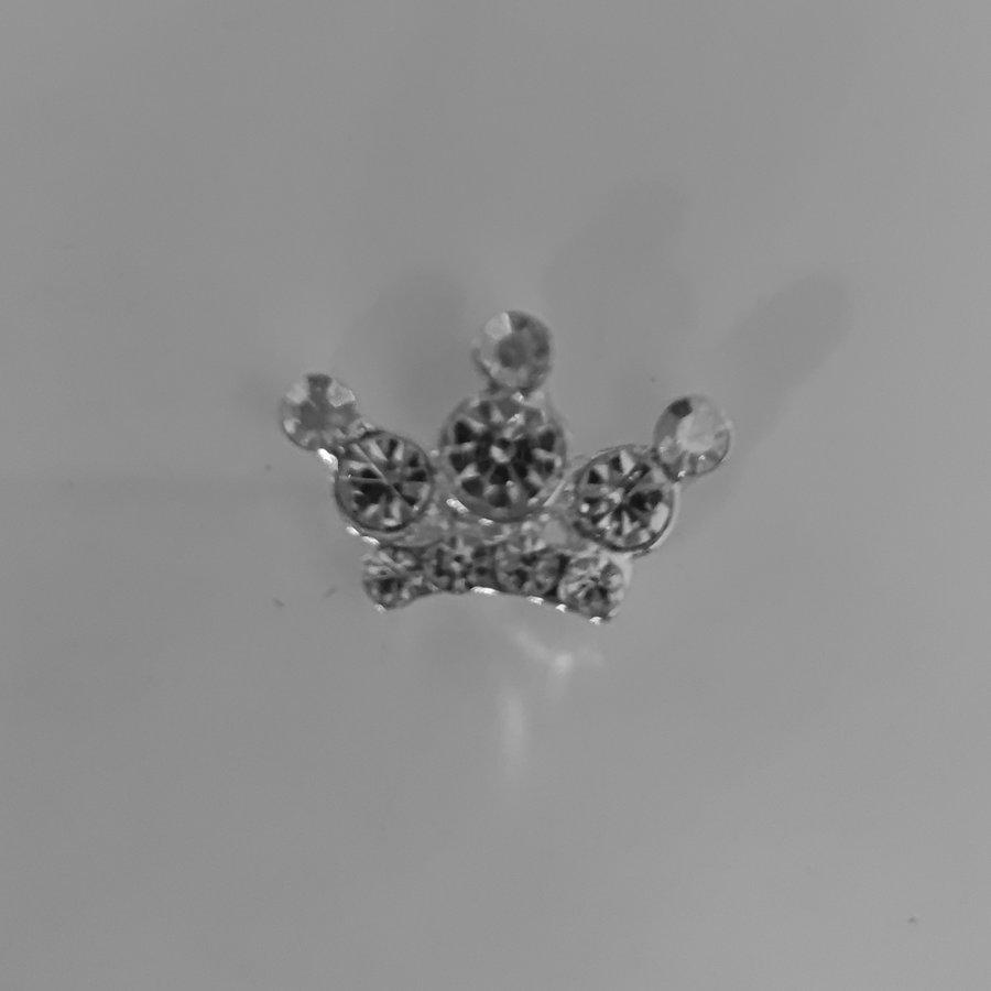 Zilverkleurige Hairpins - Kroontje met Diamantjes - 5 stuks-2