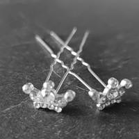 thumb-Zilverkleurige Hairpins - Kroontje met Diamantjes - 5 stuks-6