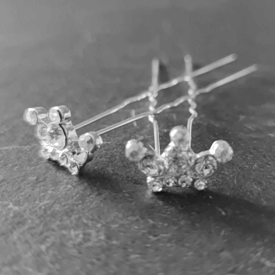 Zilverkleurige Hairpins - Kroontje met Diamantjes - 5 stuks-7