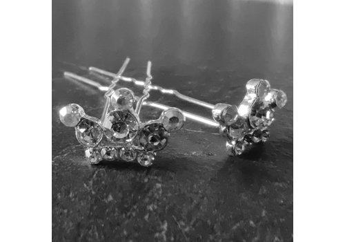 Zilverkleurige Hairpins - Kroontje met Diamantjes - 5 stuks