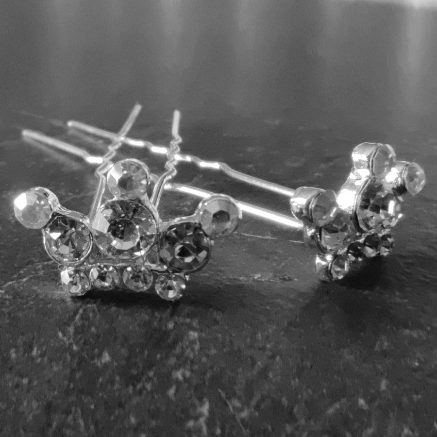 Zilverkleurige Hairpins - Kroontje met Diamantjes - 5 stuks-1