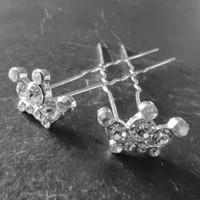 thumb-Zilverkleurige Hairpins - Kroontje met Diamantjes - 5 stuks-3