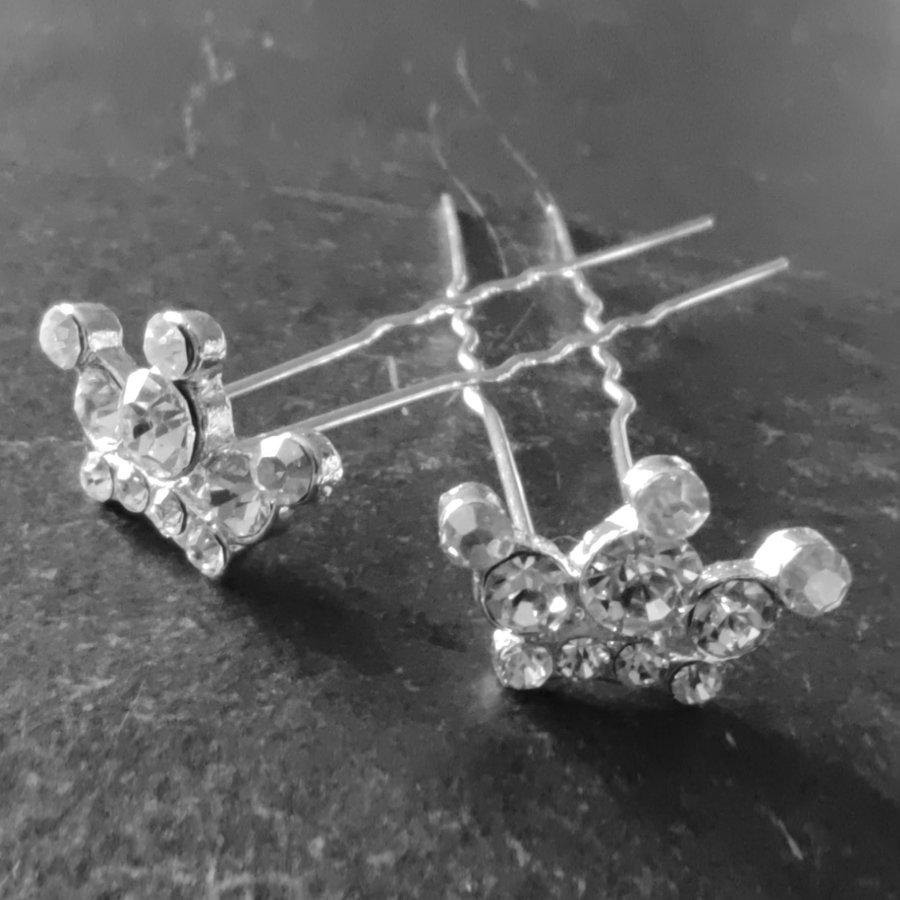 Zilverkleurige Hairpins - Kroontje met Diamantjes - 5 stuks-3