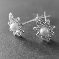 thumb-Zilverkleurige Hairpins - Flower - Diamantjes en Ivoorkleurige Parel - 5 stuks-6