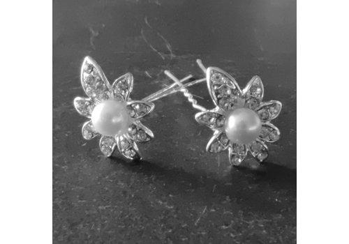 Zilverkleurige Hairpins - Flower - Diamantjes en Ivoorkleurige Parel - 5 stuks