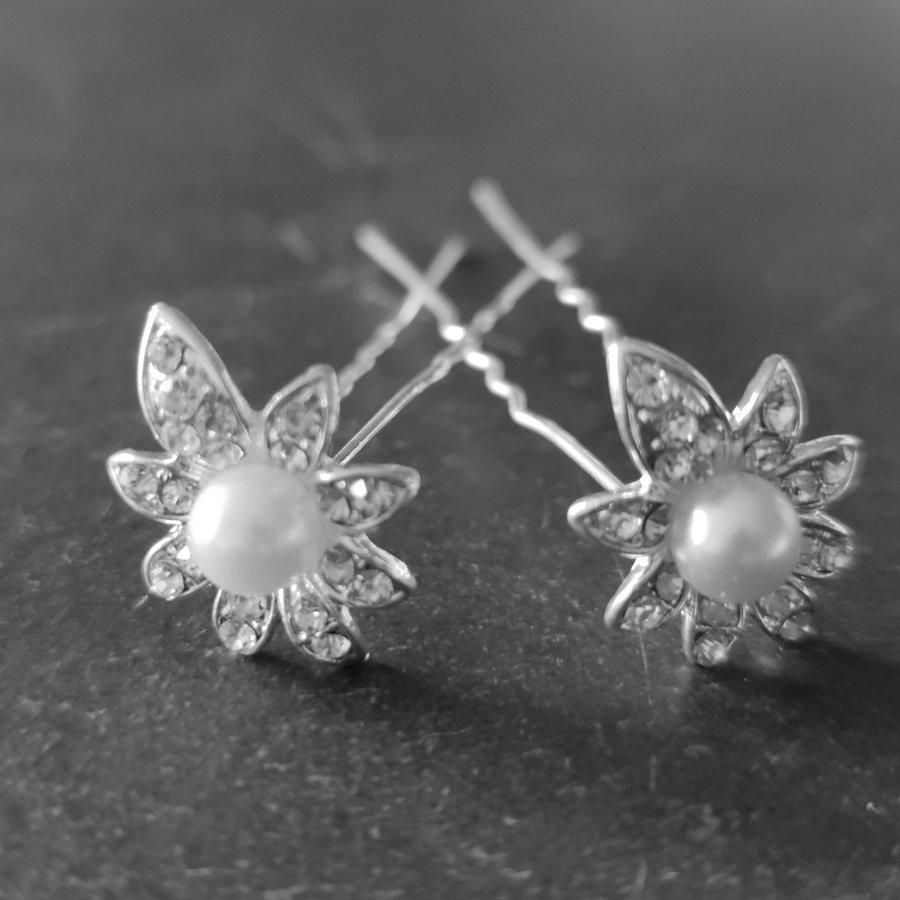 PaCaZa - Zilverkleurige Hairpins - Flower - Diamantjes en Ivoorkleurige Parel - 5 stuks-7