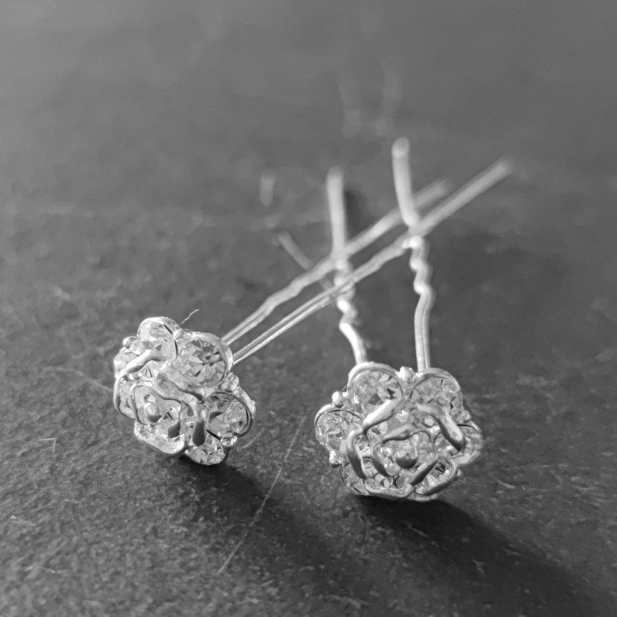 Zilverkleurige Hairpins - Roos met Diamantjes - 5 stuks-1