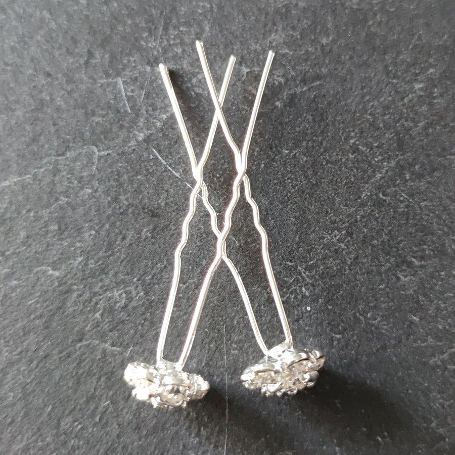 PaCaZa - Zilverkleurige Hairpins - Roos met Diamantjes - 5 stuks-4