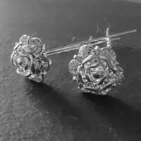 thumb-Zilverkleurige Hairpins - Roos met Diamantjes - 5 stuks-2