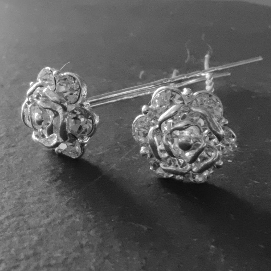 Zilverkleurige Hairpins - Roos met Diamantjes - 5 stuks-2