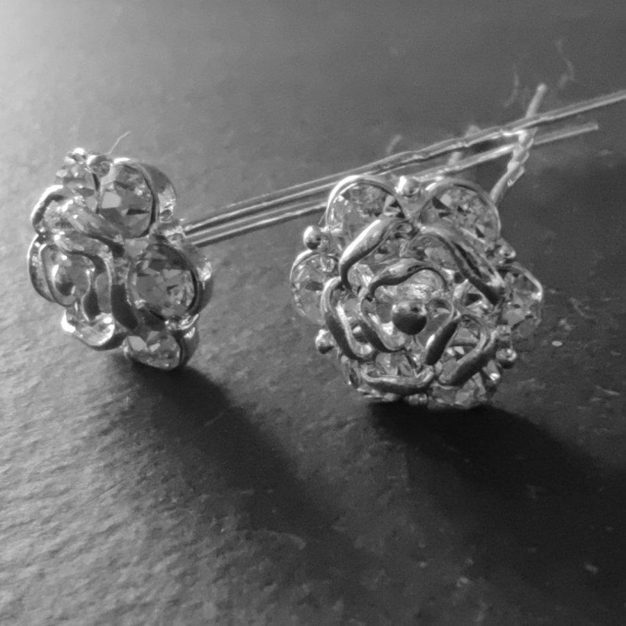 Zilverkleurige Hairpins - Roos met Diamantjes - 5 stuks-7