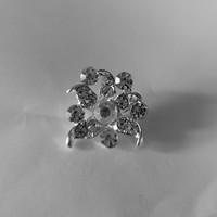 thumb-Zilverkleurige Hairpins - Fonkelende Bloem met  Diamantjes - 2 Stuks-2