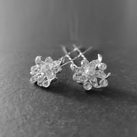 thumb-Zilverkleurige Hairpins - Fonkelende Bloem met  Diamantjes - 2 Stuks-4