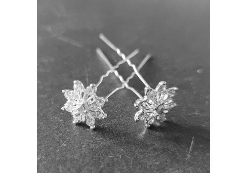 Zilverkleurige Hairpins - Fonkelende Bloem Bezaaid met Diamantjes - 5 stuks