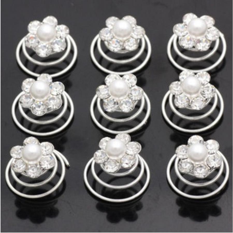 Bloem met Pareltje en Kristallen Curlies - 6 stuks-2