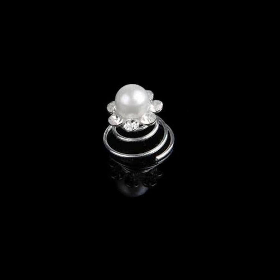 Bloem met Grote Ivoren Parel en Kristallen Curlies - 6 stuks-3