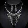 PaCaZa Chique Fonkelende Sieraden Set met Diamanten (Ketting & Oorbellen)