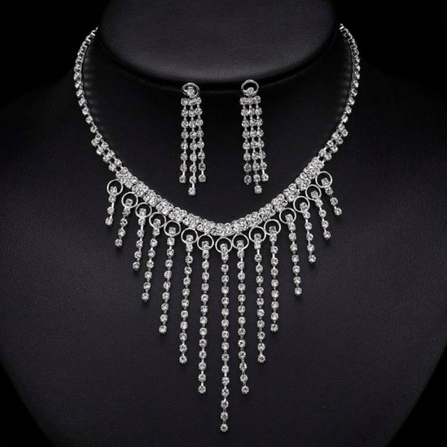 Chique Fonkelende Sieraden Set met Diamanten (Ketting & Oorbellen)-1