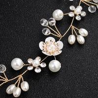 thumb-Elegant Goud kleurig Haar Sieraad met Parels, Diamantjes en Bloemen-2