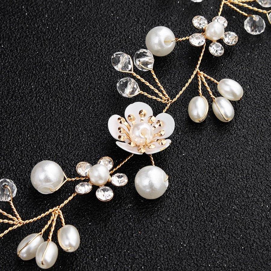Elegant Goud kleurig Haar Sieraad met Parels, Diamantjes en Bloemen-2