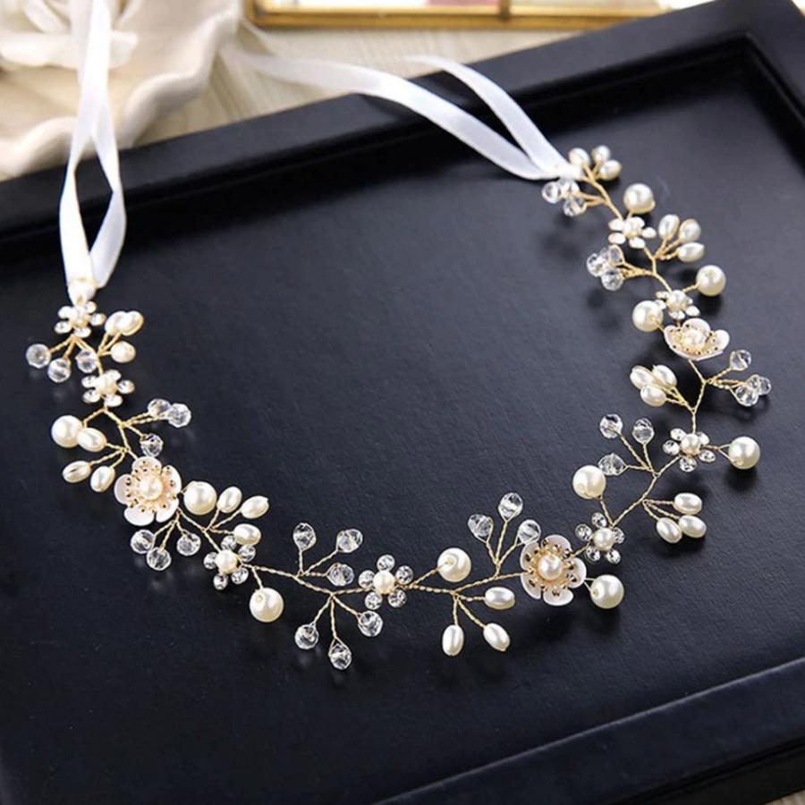 Elegant Goud kleurig Haar Sieraad met Parels, Diamantjes en Bloemen-3