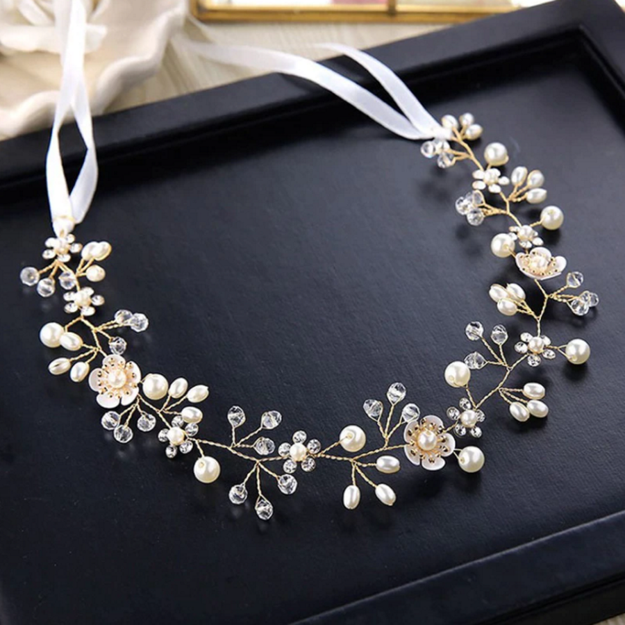 PaCaZa - Elegant Goud kleurig Haar Sieraad met Parels, Diamantjes en Bloemen-3