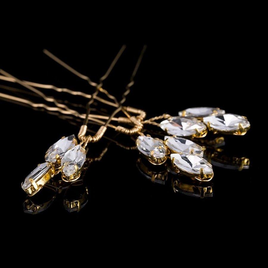 Goudkleurige Hairpins met Glimmende Diamanten - 2 Stuks-4