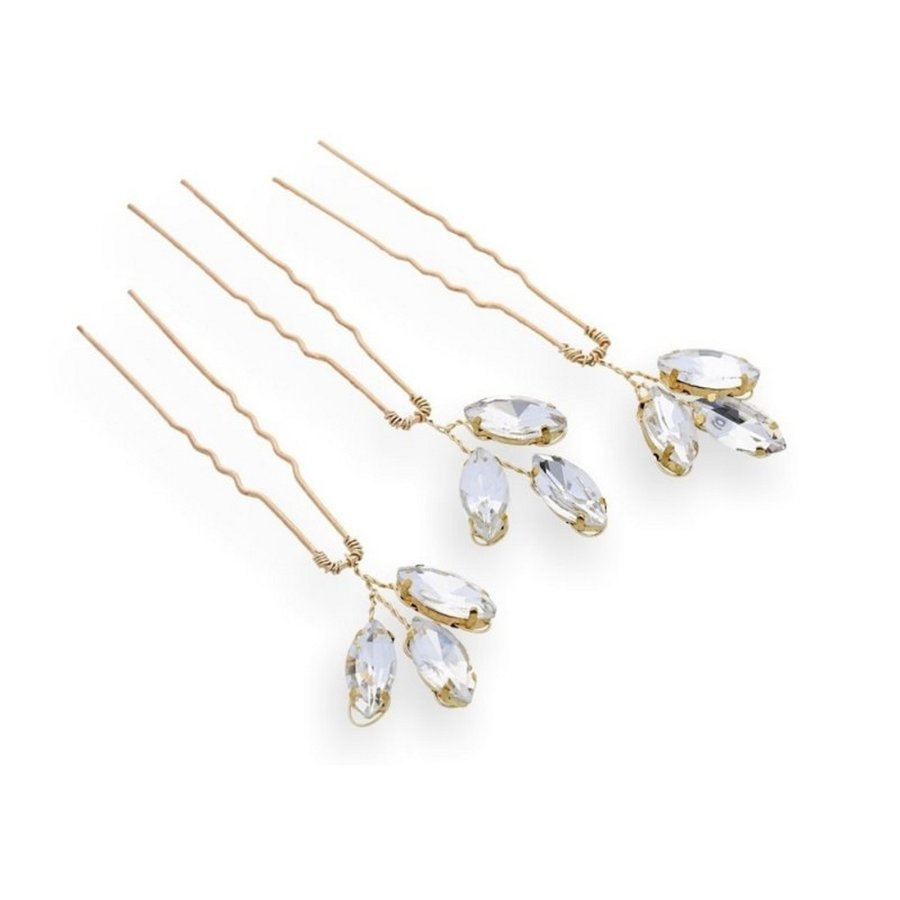 Goudkleurige Hairpins met Glimmende Diamanten - 2 Stuks-3