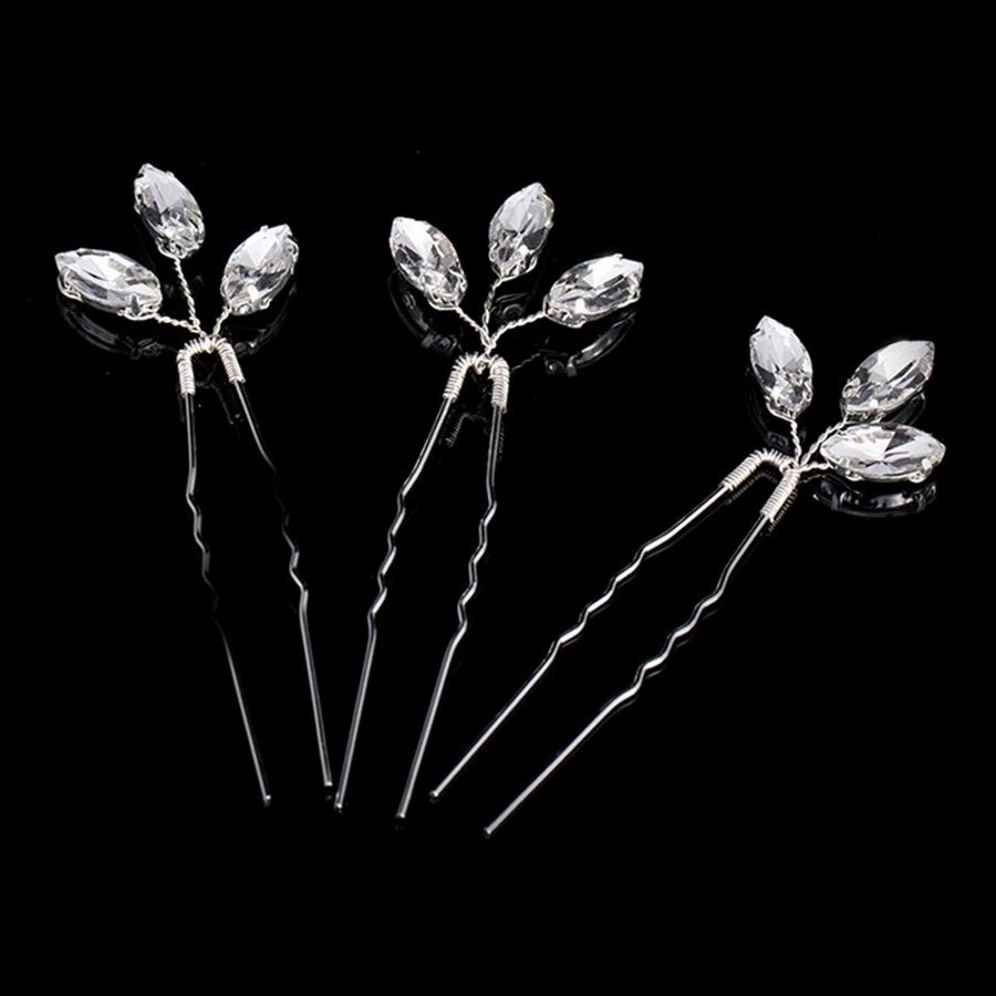 Zilverkleurige Hairpins met Glimmende Diamanten - 2 Stuks-1