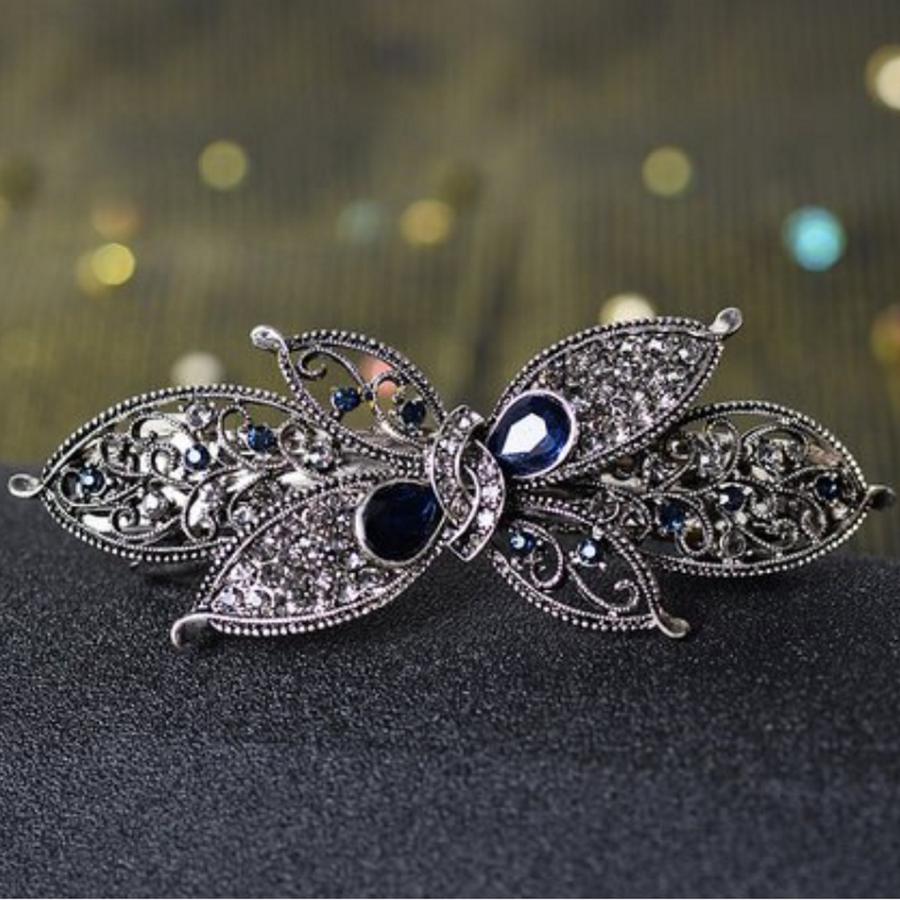 Prachtige Haarclip - Blauw  en Zilver-1