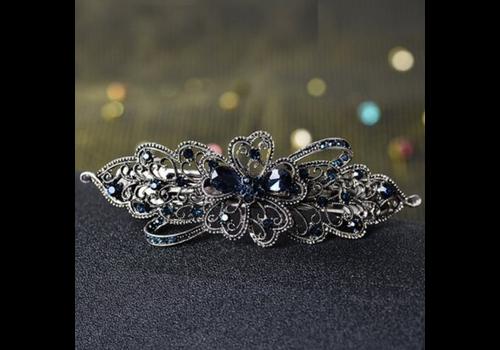 Elegante Haarclip - Blauw  en Zilver