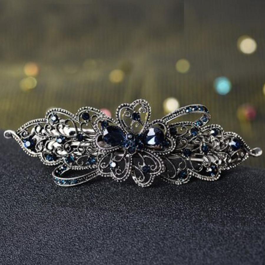 Elegante Haarclip - Blauw  en Zilver-1