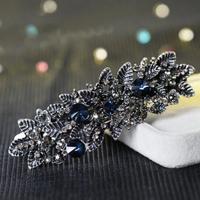 thumb-Chique Haarclip - Blauw  en Zilver-1