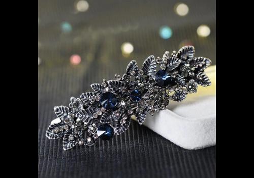 Chique Haarclip - Blauw  en Zilver
