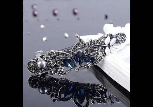 Fonkelende Haarclip Vlinder  - Blauw  en Zilver