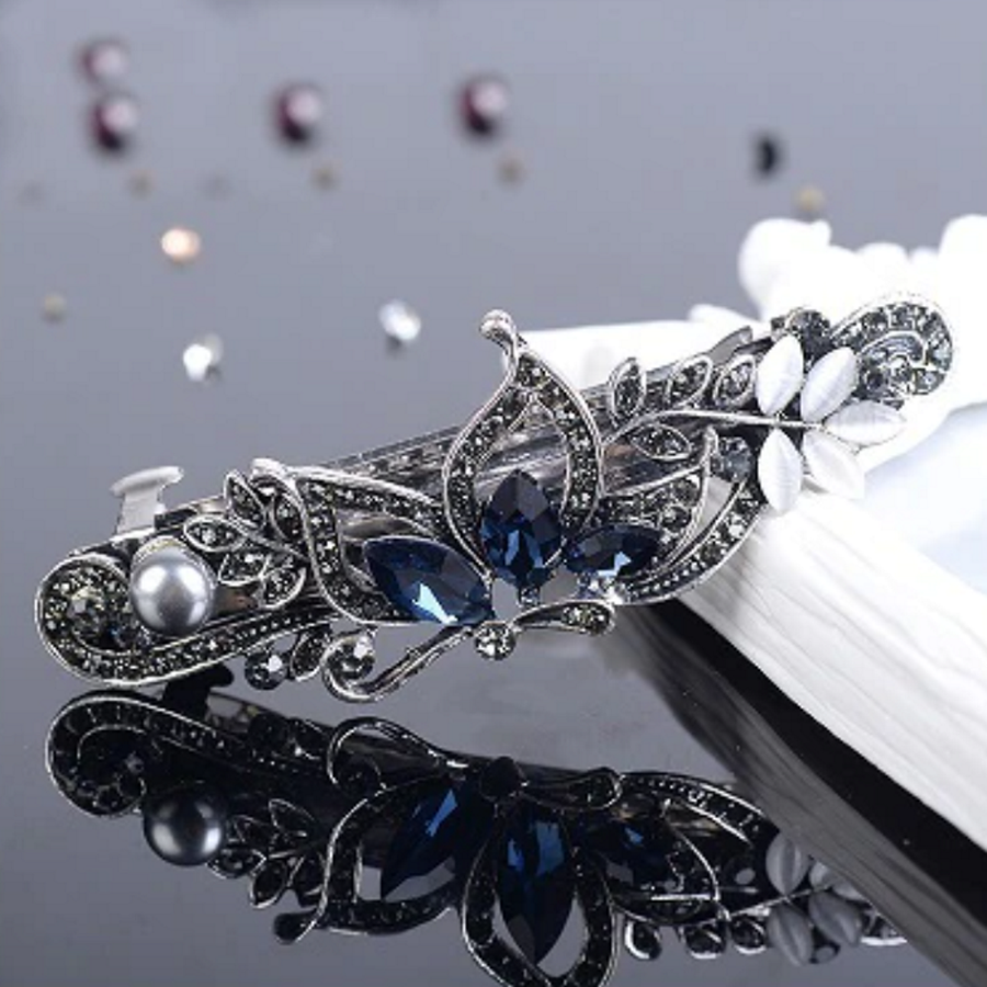 Fonkelende Haarclip Vlinder  - Blauw  en Zilver-1