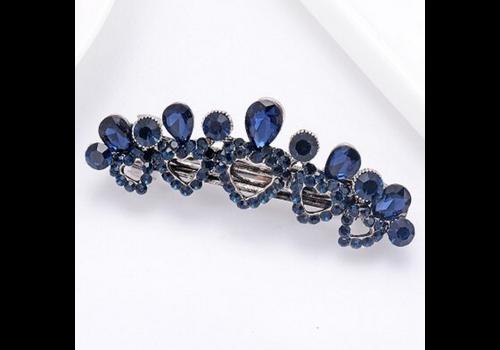 Fonkelende Haarclip Hart - Blauw  en Zilver