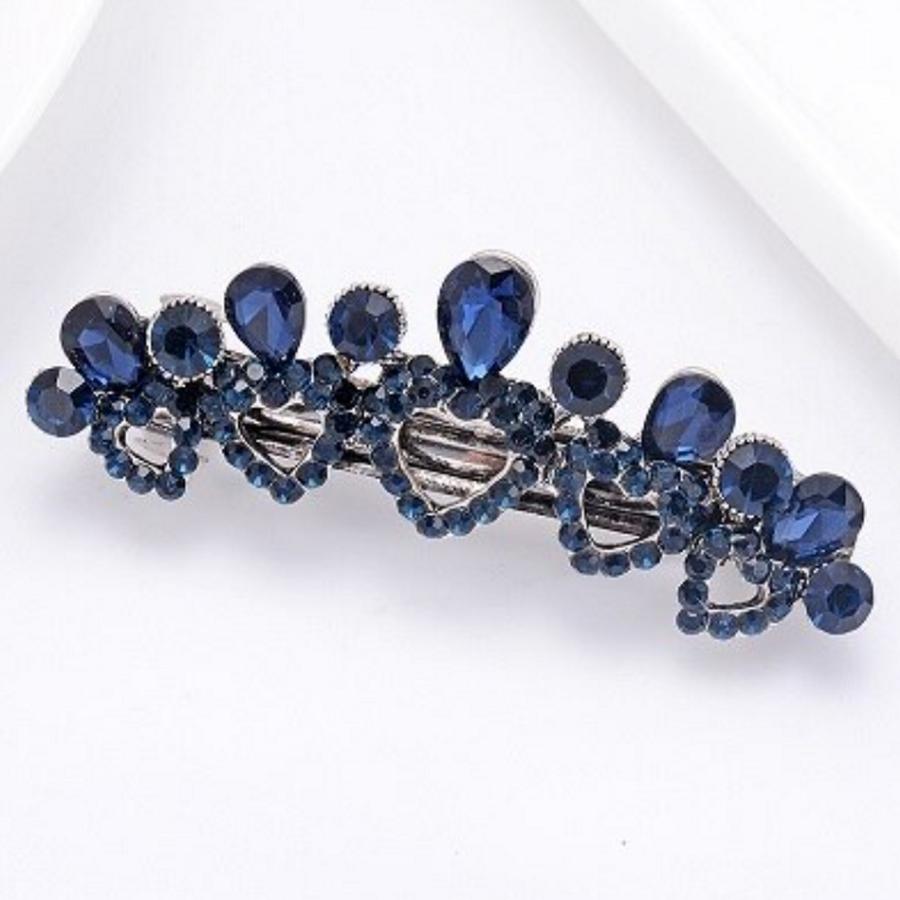 Fonkelende Haarclip Hart - Blauw  en Zilver-1