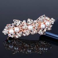thumb-Rosékleurige Haarclip met Ivoorkleurige Parels en Fonkelende Diamanten - Bloem-1