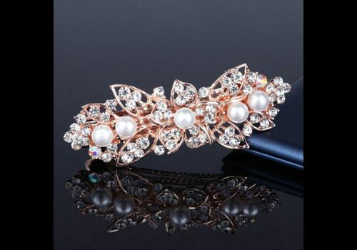 Rosékleurige Haarclip met Ivoorkleurige Parels en Fonkelende Diamanten - Bloem