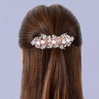 thumb-Rosékleurige Haarclip met Ivoorkleurige Parels en Fonkelende Diamanten - Bloem-2