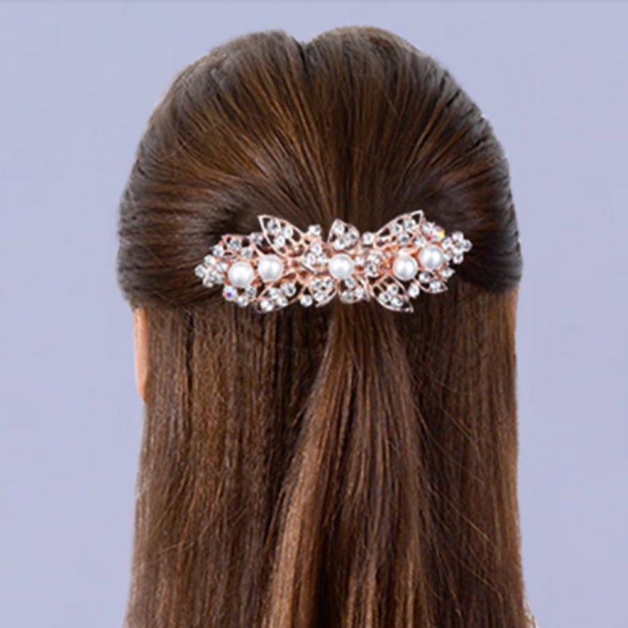 Rosékleurige Haarclip met Ivoorkleurige Parels en Fonkelende Diamanten - Bloem-2